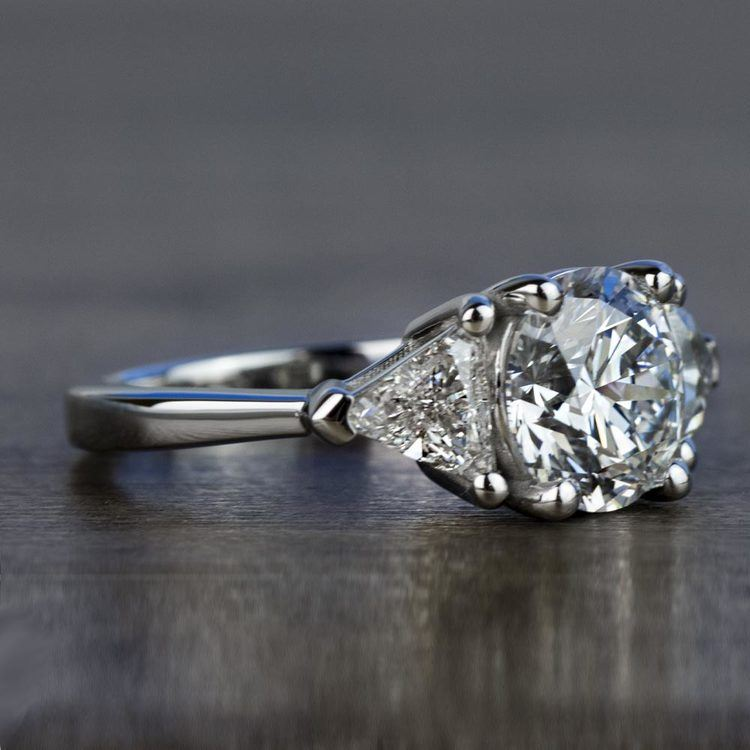 Three-Stone 2.25 Carat Round and Trillion Diamond Engagement Ring angle 3