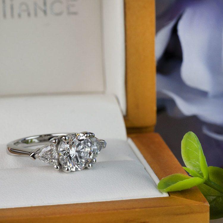 Three-Stone 2.25 Carat Round and Trillion Diamond Engagement Ring angle 5