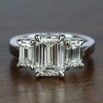Three-Stone Emerald Diamond Engagement Ring (2.50 Carat) - small