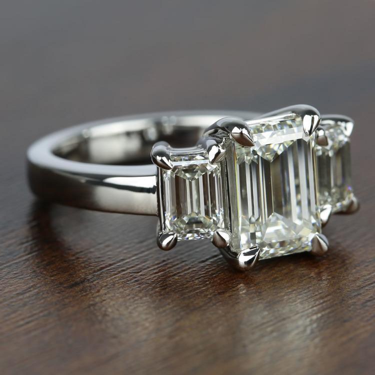 Three-Stone Emerald Diamond Engagement Ring (2.50 Carat) angle 3