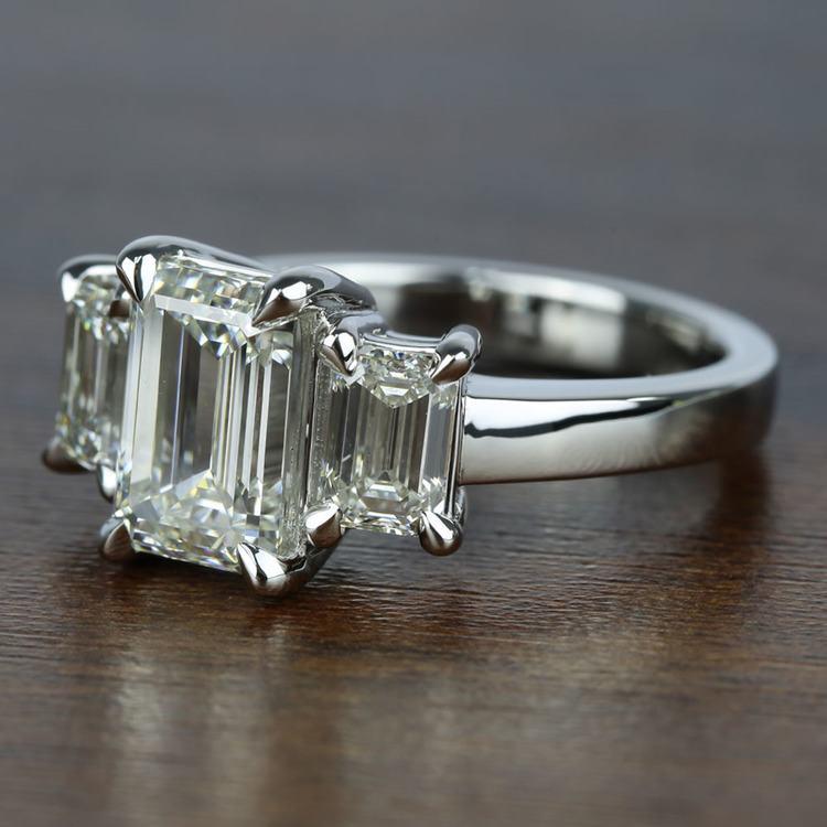 Three-Stone Emerald Diamond Engagement Ring (2.50 Carat) angle 2