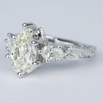 Three-Stone Pear Diamond Vintage Engagement Ring (3 Carat) - small angle 2