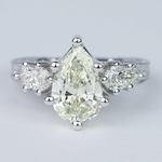 Three-Stone Pear Diamond Vintage Engagement Ring (3 Carat) - small