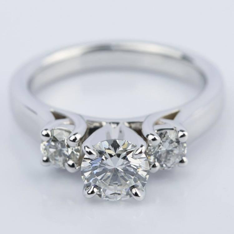 Three-Stone Diamond Engagement Ring in White Gold (0.62 ct.)