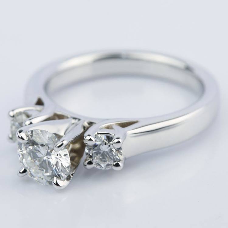 Three-Stone Diamond Engagement Ring in White Gold (0.62 ct.) angle 2