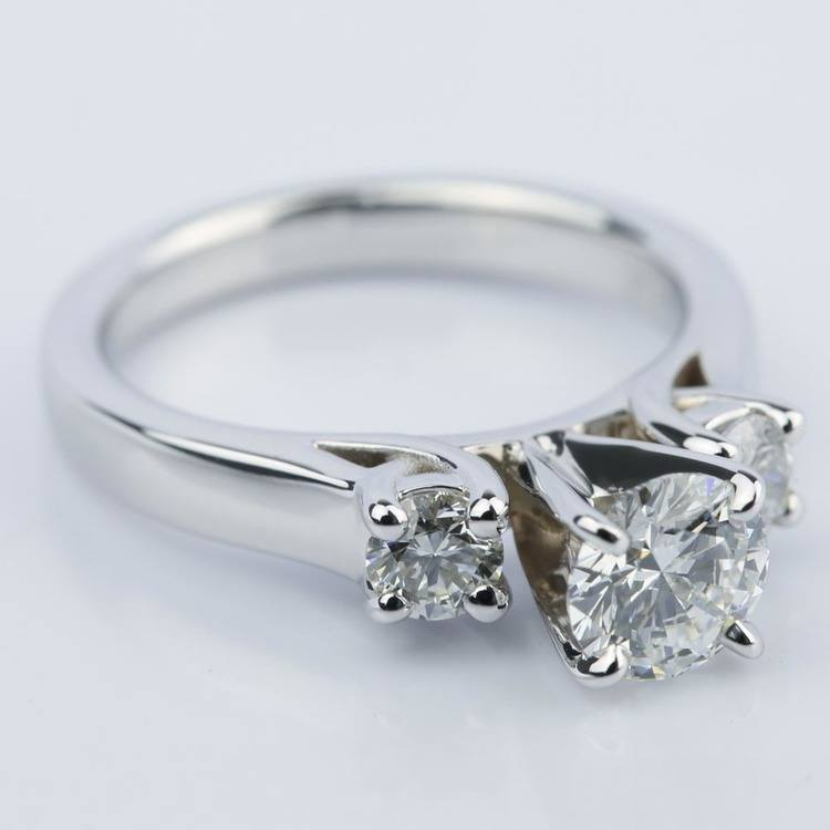 Three-Stone Diamond Engagement Ring in White Gold (0.62 ct.) angle 3