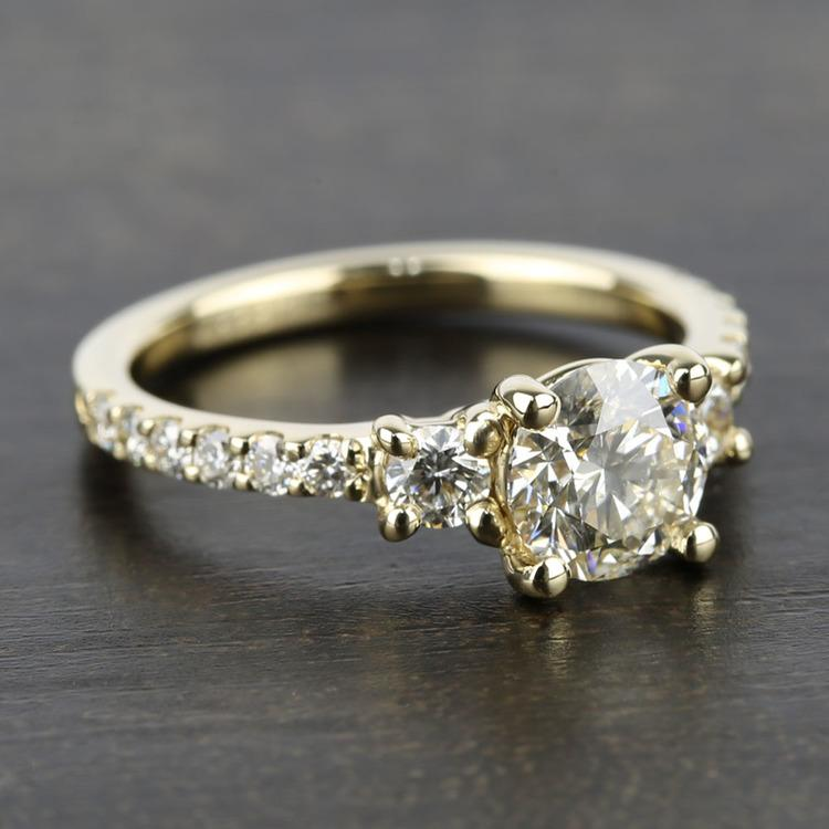 Three-Stone Diamond Scallop Engagement Ring (1 Carat) angle 3