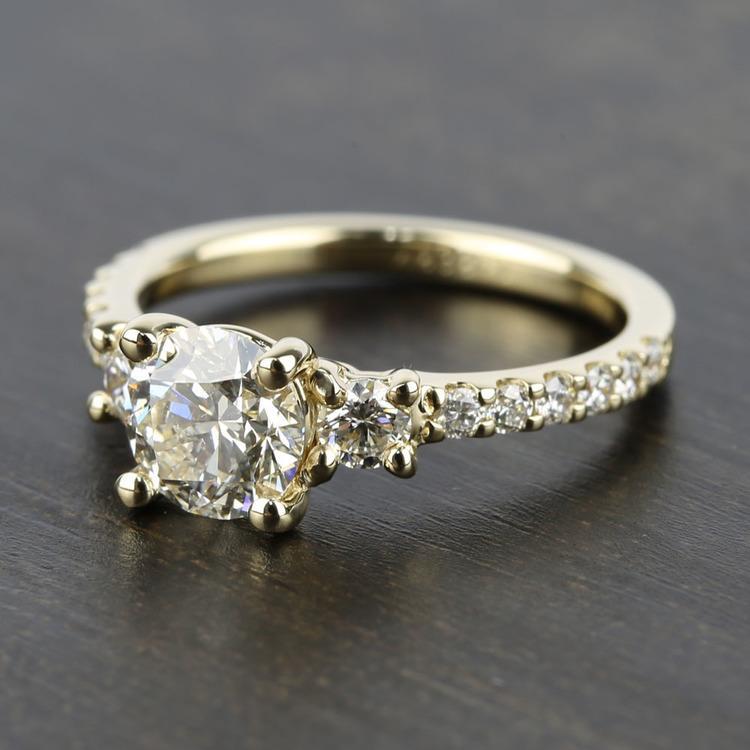 Three-Stone Diamond Scallop Engagement Ring (1 Carat) angle 2