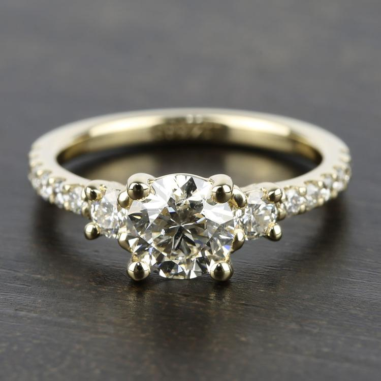 Three-Stone Diamond Scallop Engagement Ring (1 Carat)