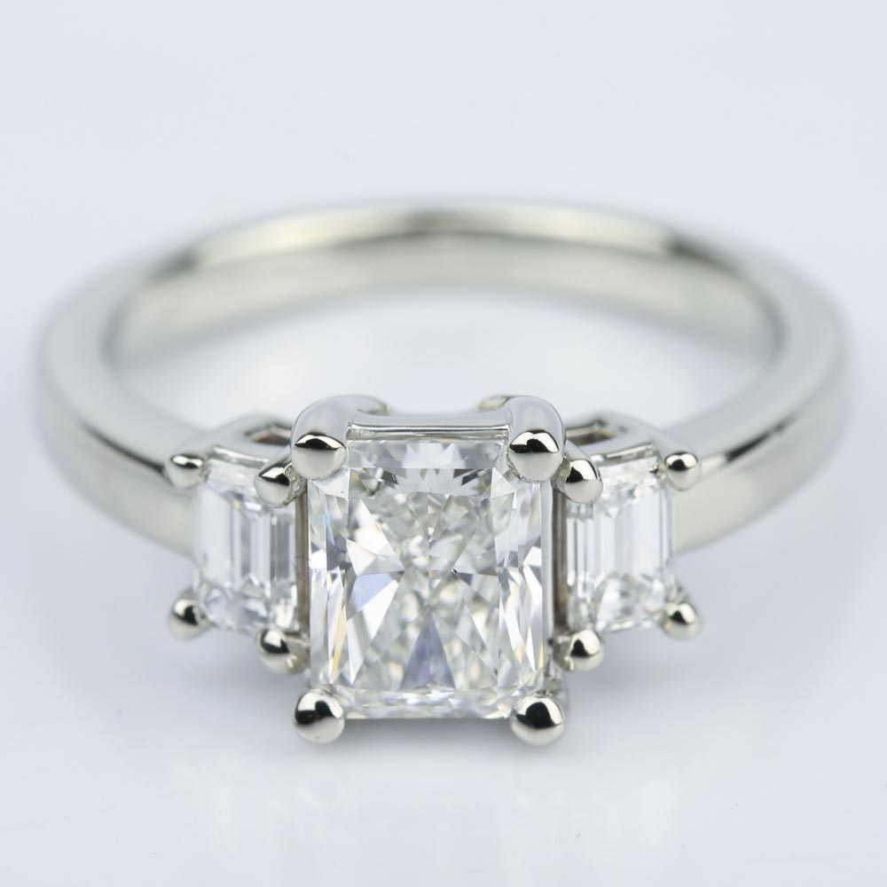 Three Stone Emerald Engagement Ring With Radiant Diamond