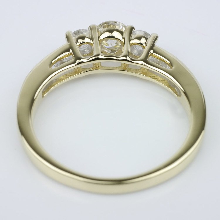 Three Stone Engagement Ring with Channel Set Accents angle 4