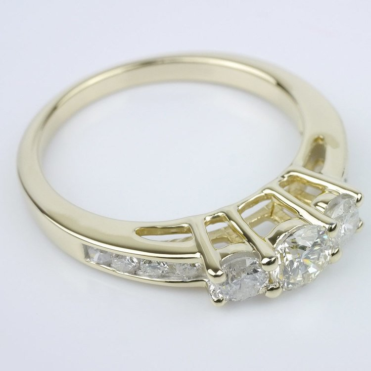 Three Stone Engagement Ring with Channel Set Accents angle 3