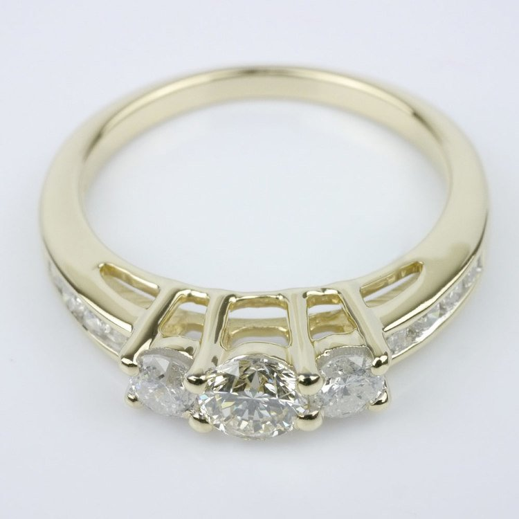 Three Stone Engagement Ring with Channel Set Accents