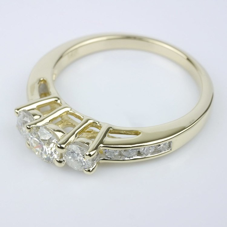 Three Stone Engagement Ring with Channel Set Accents angle 2