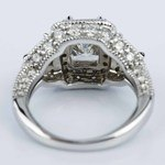 Three Stone Halo Milgrain Split Shank Radiant Engagement Ring in White Gold (2.01 ct.) - small angle 4