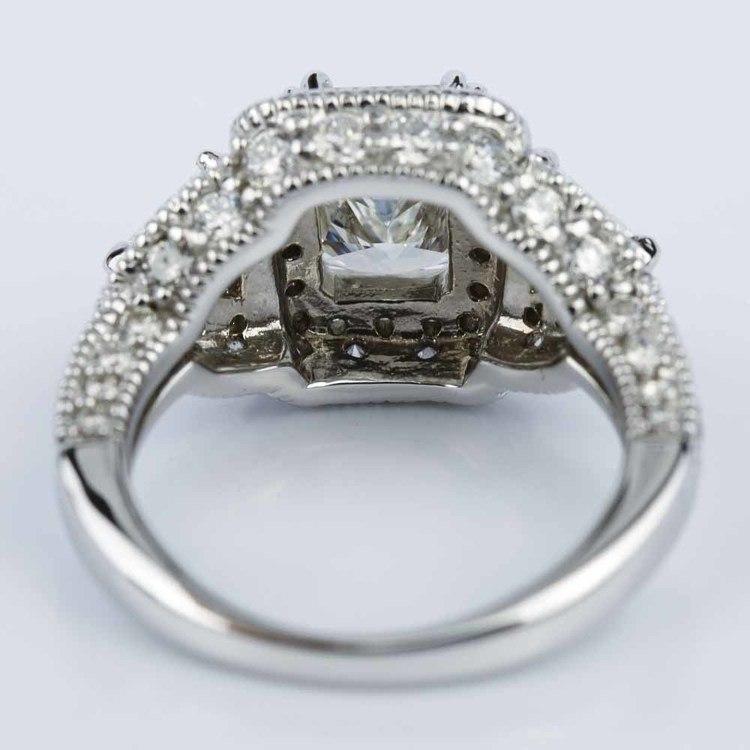 Three Stone Halo Milgrain Split Shank Radiant Engagement Ring in White Gold (2.01 ct.) angle 4