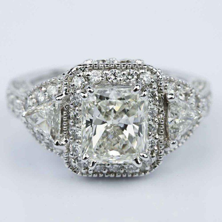 Three Stone Halo Milgrain Split Shank Radiant Engagement Ring in White Gold (2.01 ct.)