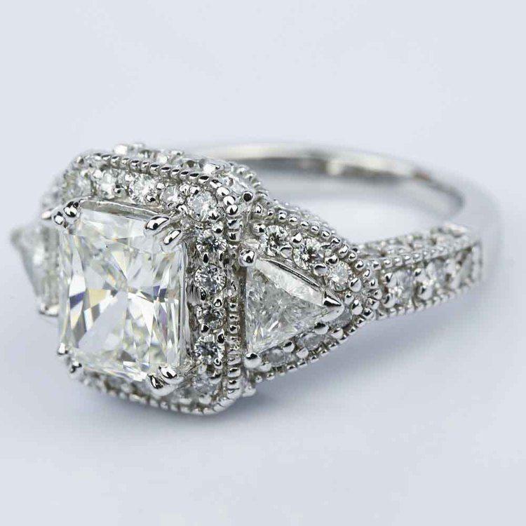 Three Stone Halo Milgrain Split Shank Radiant Engagement Ring in White Gold (2.01 ct.) angle 2