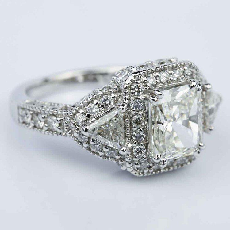 Three Stone Halo Milgrain Split Shank Radiant Engagement Ring in White Gold (2.01 ct.) angle 3