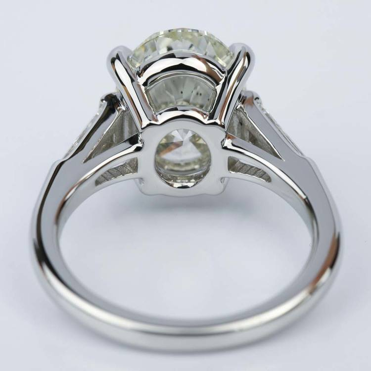 Three Stone Oval and Tapered Baguette Diamond Engagement Ring in Platinum (3.55 ct.) angle 4
