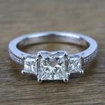 Three Stone Princess Trellis Diamond Engagement Ring (1.50 Carat) - small
