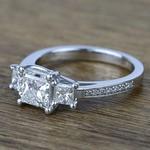 Three Stone Princess Trellis Diamond Engagement Ring (1.50 Carat) - small angle 2