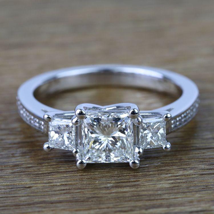 Three Stone Princess Trellis Diamond Engagement Ring (1.50 Carat)