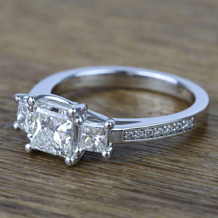 Three Stone Princess Trellis Diamond Engagement Ring (1.50 Carat) angle 2
