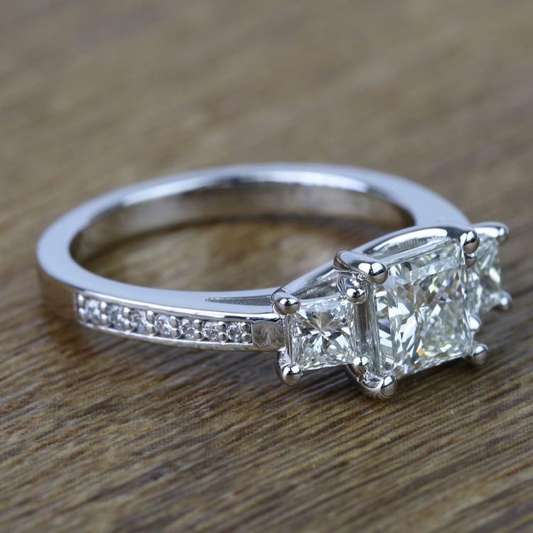 Three Stone Princess Trellis Diamond Engagement Ring (1.50 Carat) angle 3
