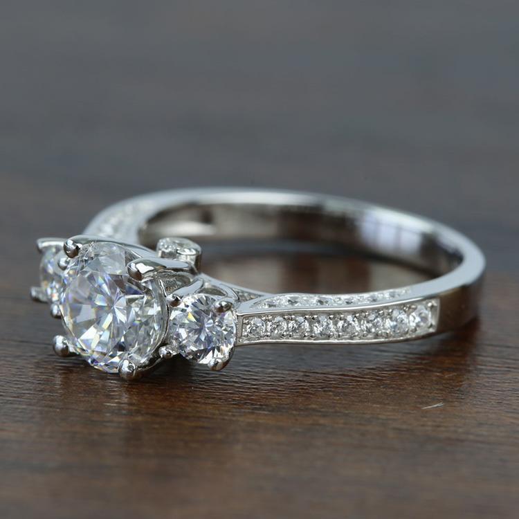 Three Stone Ribbon 1.20 Carat Round Diamond Engagement Ring angle 2