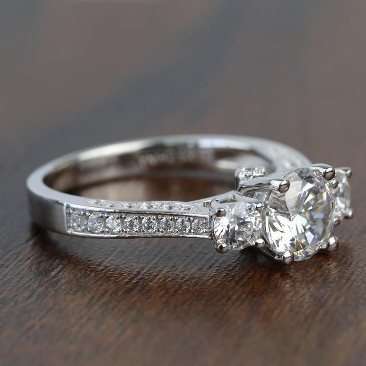 Three Stone Ribbon 1.20 Carat Round Diamond Engagement Ring angle 3