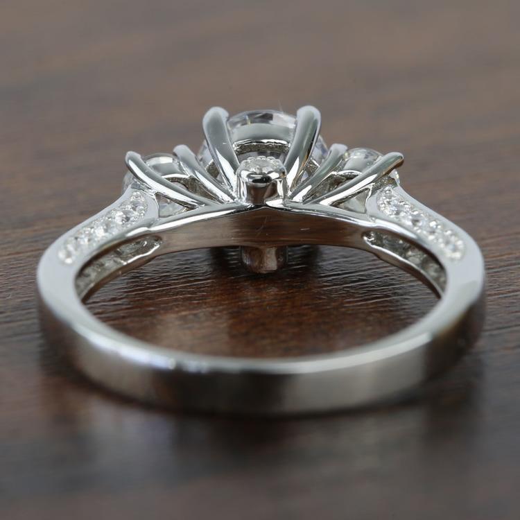Three Stone Ribbon 1.20 Carat Round Diamond Engagement Ring angle 4