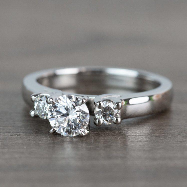 Three-Stone Round Diamond Engagement Ring in Platinum  angle 2