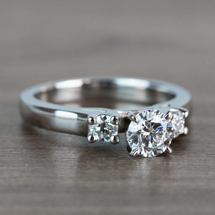 Three-Stone Round Diamond Engagement Ring in Platinum  angle 3