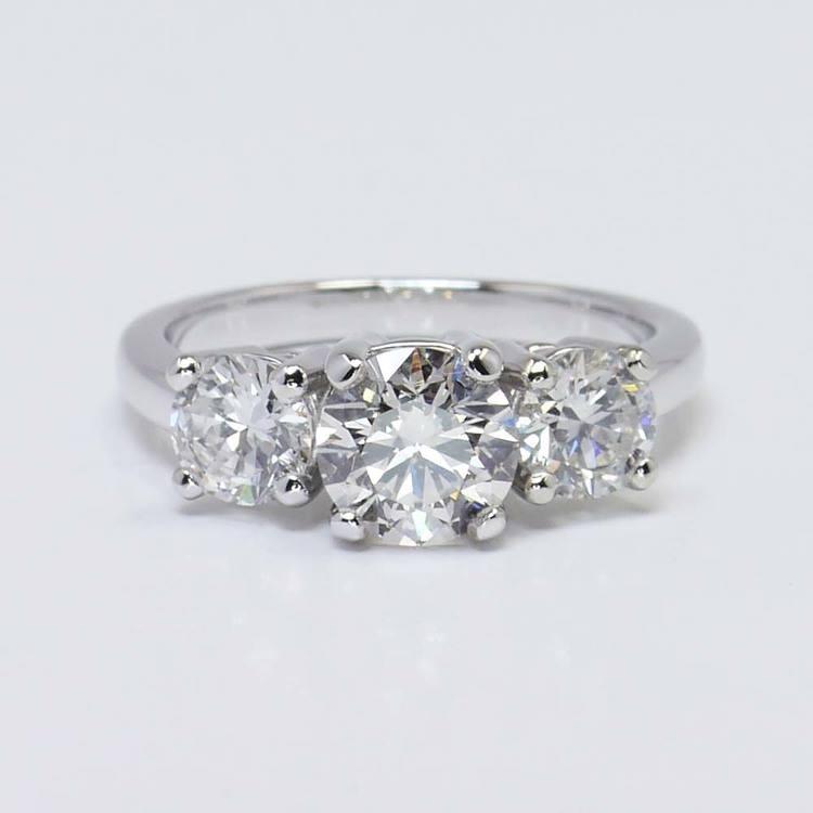 Custom Three-Stone Round Diamond Engagement Ring (1.20 Carat)