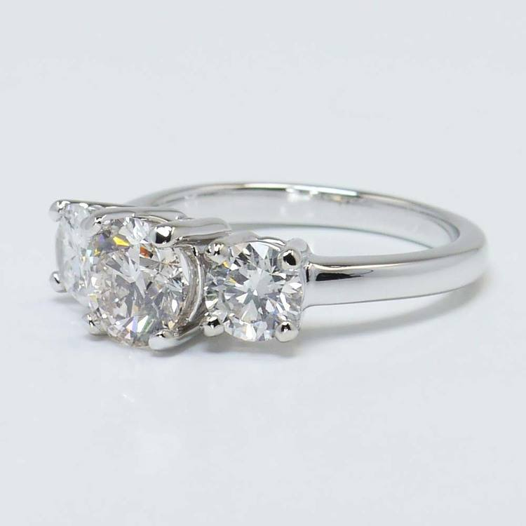 Custom Three-Stone Round Diamond Engagement Ring (1.20 Carat) angle 2