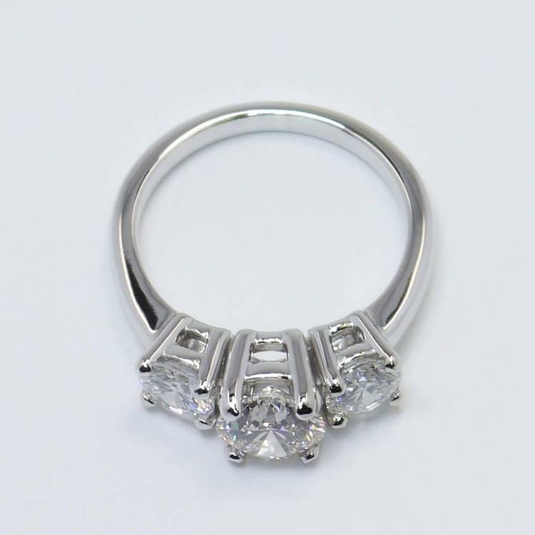 Custom Three-Stone Round Diamond Engagement Ring (1.20 Carat) angle 4