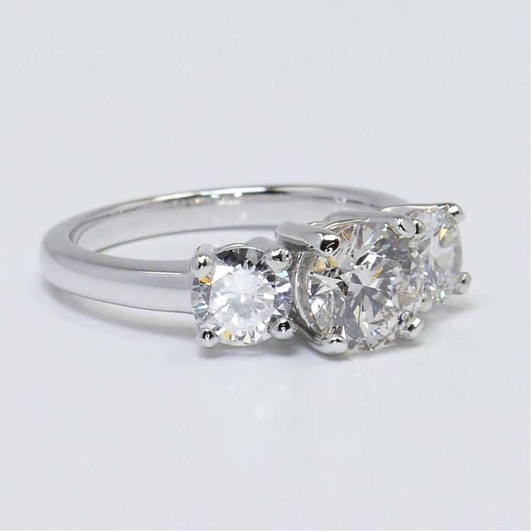 Custom Three-Stone Round Diamond Engagement Ring (1.20 Carat) angle 3
