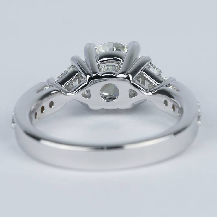 Round Trellis Diamond Engagement Ring with Trillion Side Diamonds angle 4