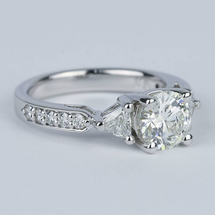 Round Trellis Diamond Engagement Ring with Trillion Side Diamonds angle 3