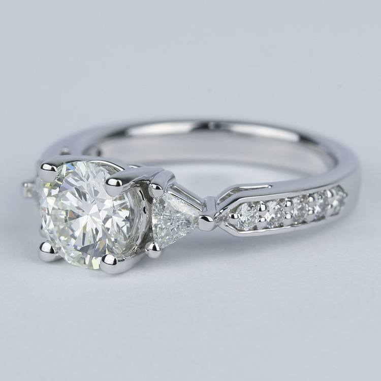 Round Trellis Diamond Engagement Ring with Trillion Side Diamonds angle 2