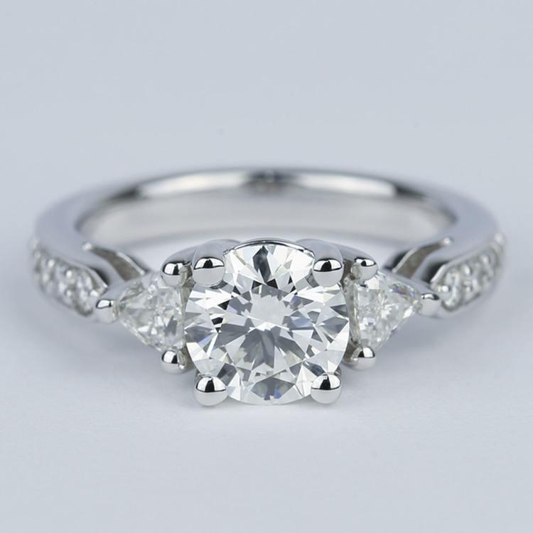 Round Trellis Diamond Engagement Ring with Trillion Side Diamonds