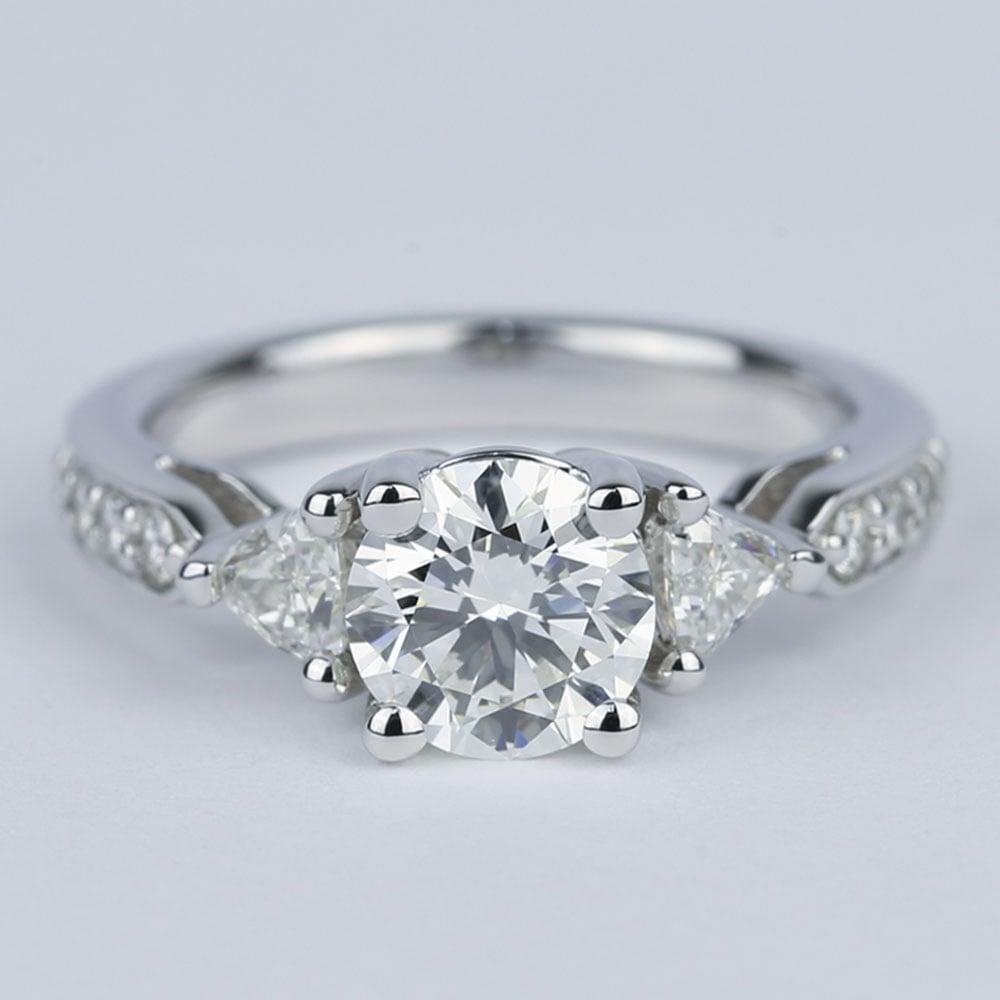 Round Trellis Diamond Engagement Ring With Trillion Side
