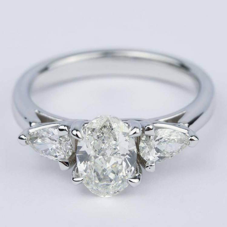 Three-Stone Trellis Oval Diamond Engagement Ring (1.70 ct.)