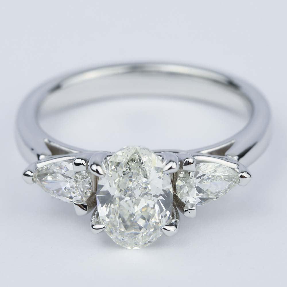 Three Stone Trellis Oval Diamond Engagement Ring 1 70 Ct