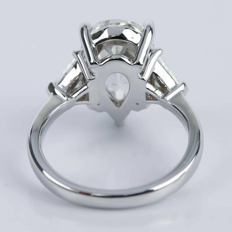 Three-Stone Trillion Engagement Ring with Pear Diamond Center angle 4