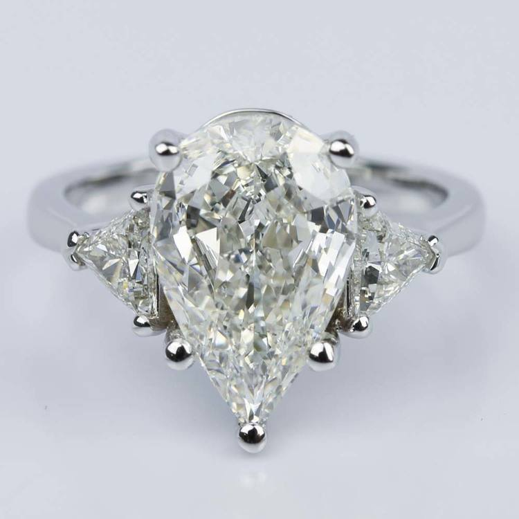 Three-Stone Trillion Engagement Ring with Pear Diamond Center