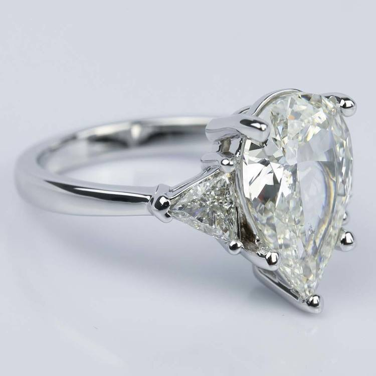 Three-Stone Trillion Engagement Ring with Pear Diamond Center angle 3