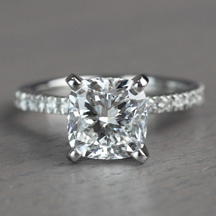 Timeless 2 Carat Cushion Cut Pave Engagement Ring