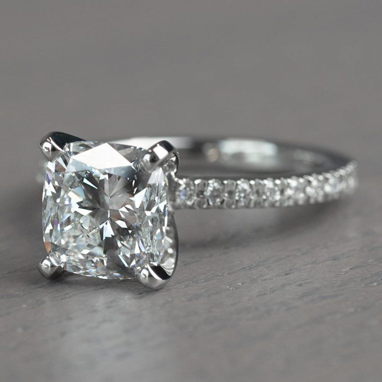 Timeless 2 Carat Cushion Cut Pave Engagement Ring angle 2
